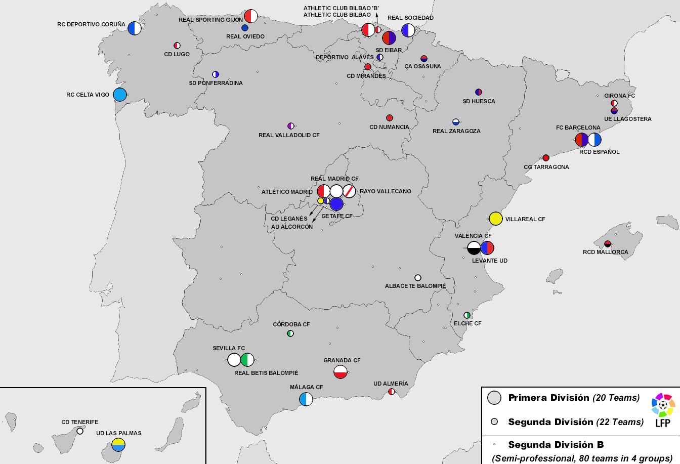 Map Of The Teams In Spain S Three Top Leagues R Soccer Top League League Teams