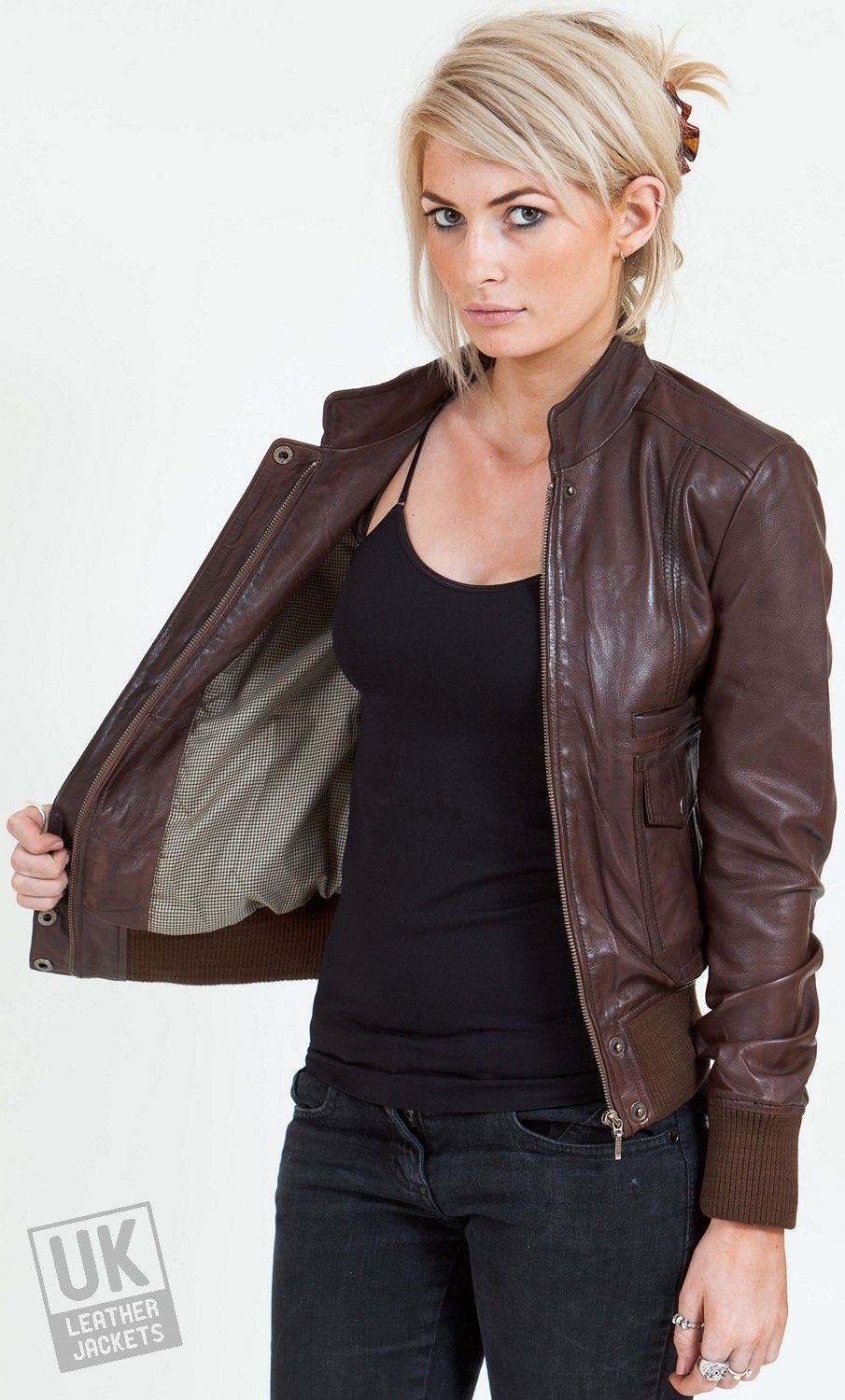 IL2L Women's Leather Bomber Jacket with a Deep Knitted Collar ...
