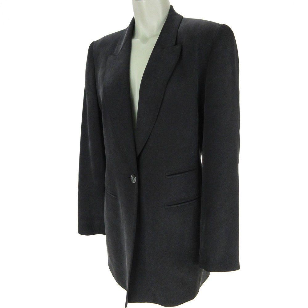 bf213a3ca96 Dana Buchman Womens Blazer 10 Black Silk 1 Button Pockets Lined Career  Jacket #DanaBuchman #blazers