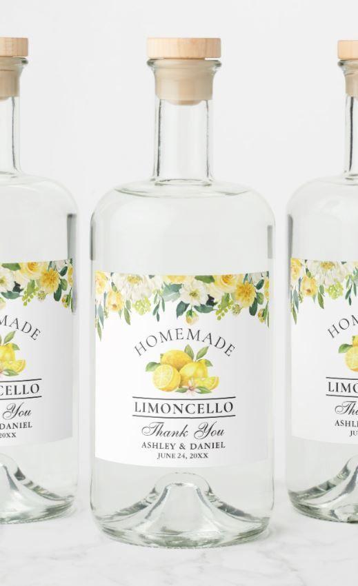 Limoncello Watercolor Lemons Floral Liquor Bottle Label | Zazzle.com