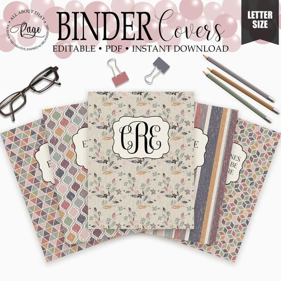 Editable Binder Covers And Spines, 3 Ring Notebook Cover