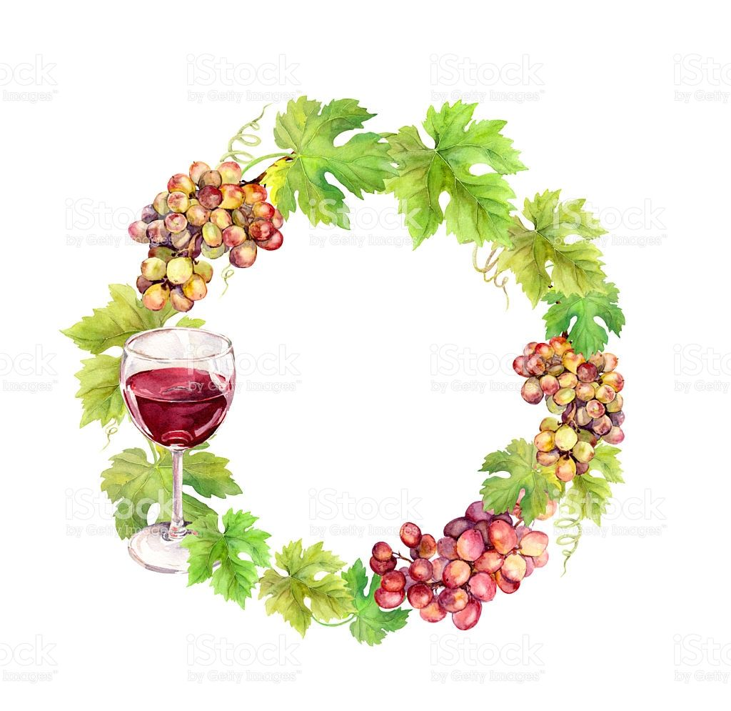 Photo of Wreath border with grapes, wine glass and vine leaves. Watercolor…