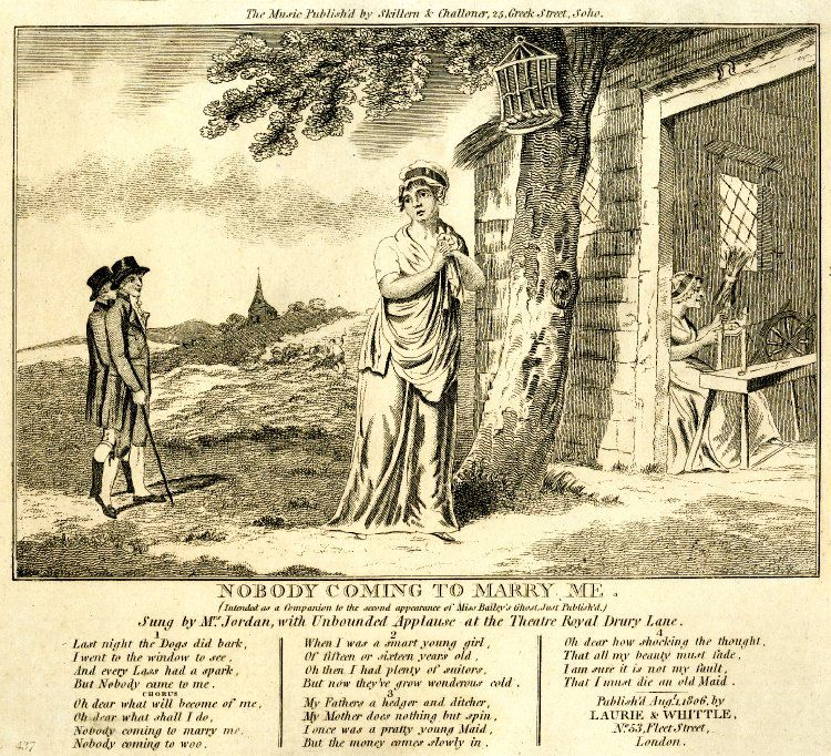 Below the title: '(Intended as a Companion to the second appearance of Miss Bailey's Ghost, Just Publish'd)', see BMSat 10677. Heading to engraved verses: 'Sung by Mrs Jordan, with unbounded Applause at the Theatre Royal Drury Lane.' A young woman registers grief outside a cottage (r.), in which a woman is spinning.  She is watched by two fashionably dressed passers-by.  The verses end:    'I am sure it is not my fault,  That I must die an old Maid.' 1 August 1806  Etching