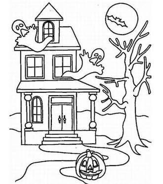Halloween Haunted House colouring sheet! Kids will love