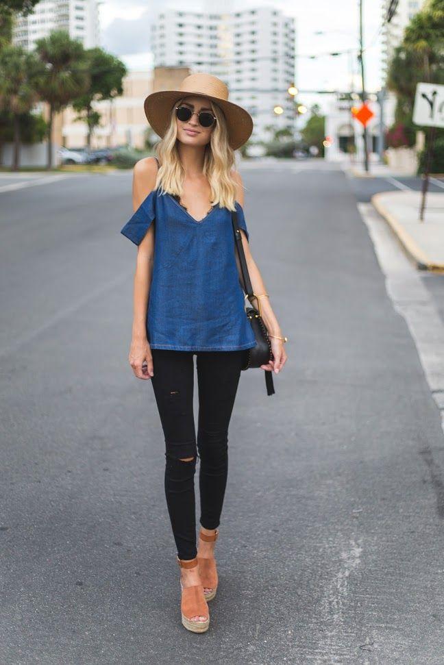 6cb9cf6a9d815 Chambray off the shoulder top + black jeans + platform sandals ...