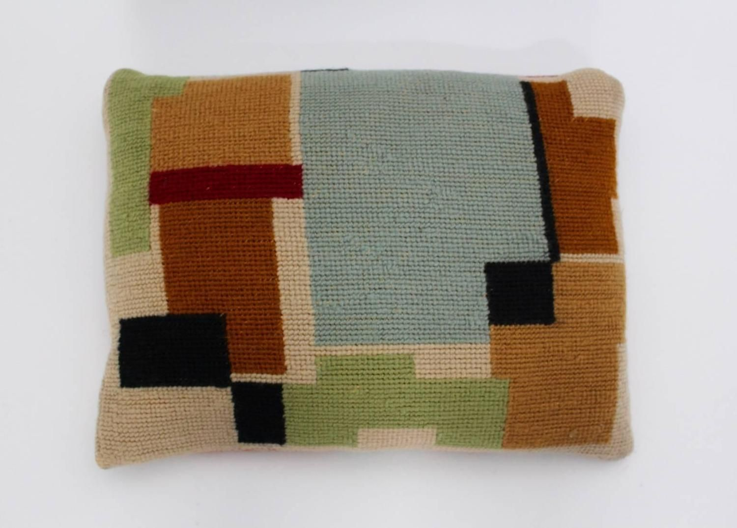 Bauhaus multicolored hand embroidery wool pillow with geometric