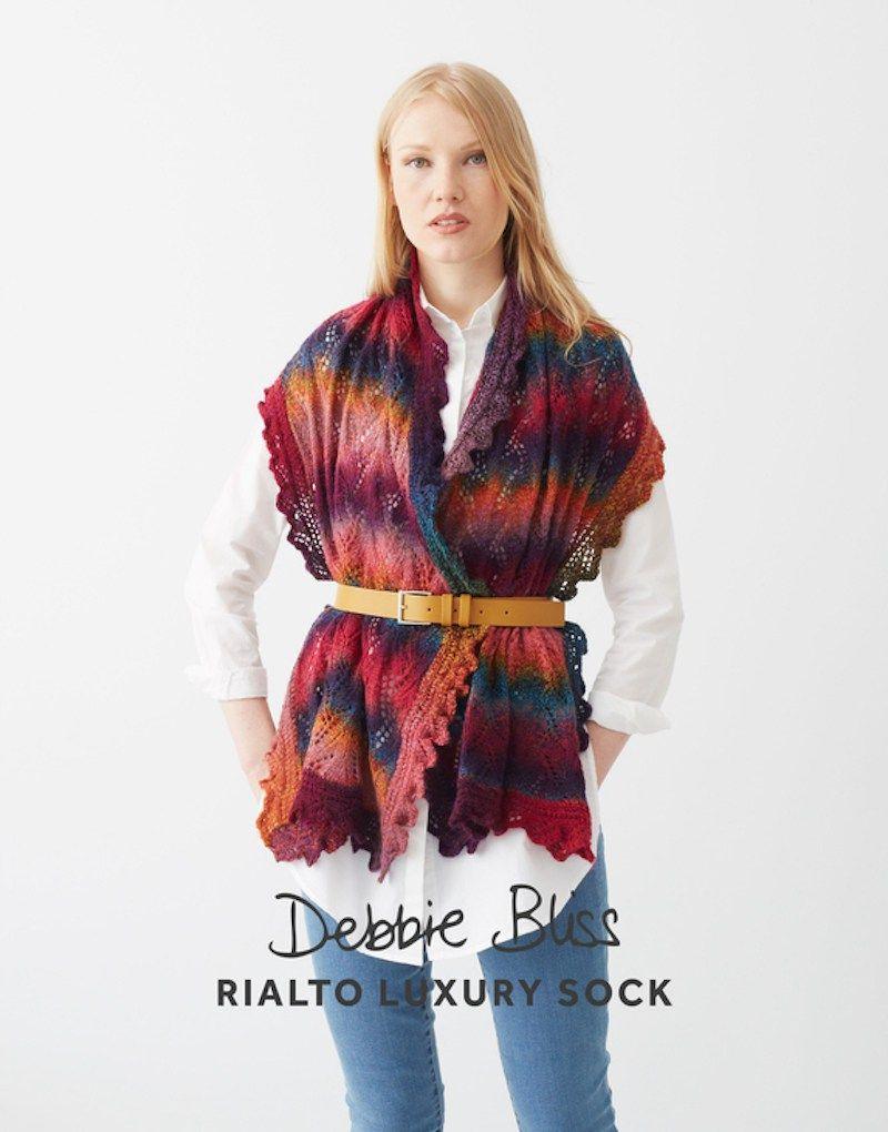 lace edged stole in debbie bliss rialto luxury sock yarn seen