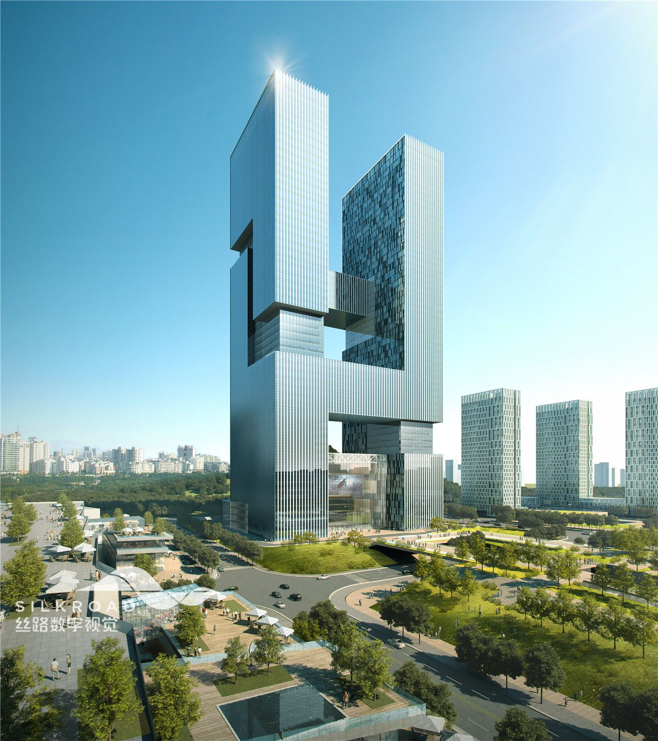 High Tech Modern Architecture Buildings: Silkroad Rendering For High Rise