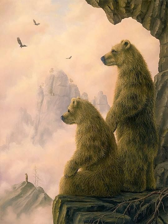 The Observers Original In Oil Of Bears By Artist Robert Bissell