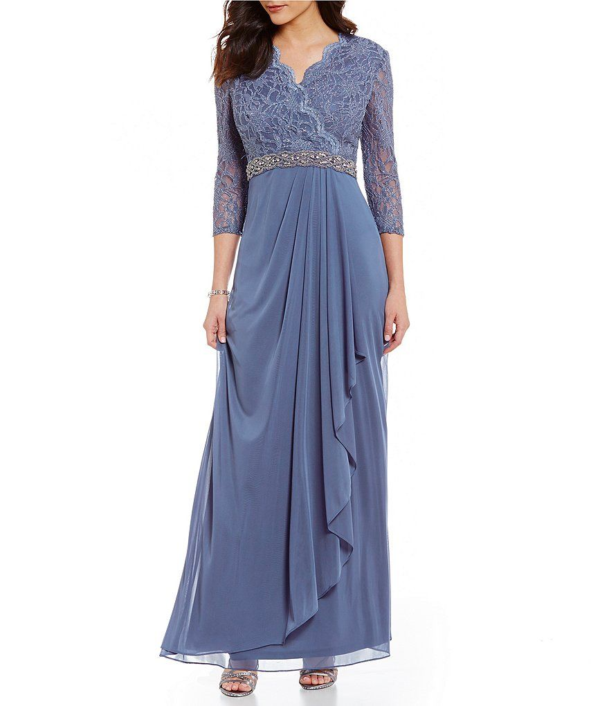 Cachet Scalloped Lace Surplice 3/4 Sleeve Gown