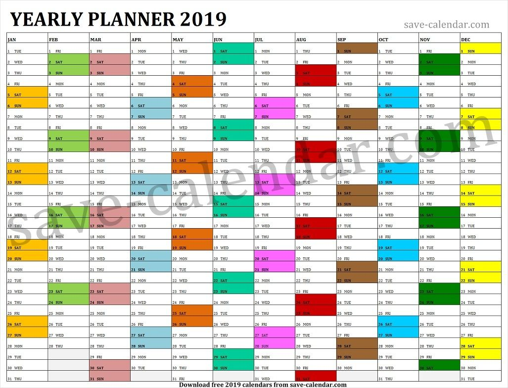 Calendar 2019 Year Printable Yearly Planner