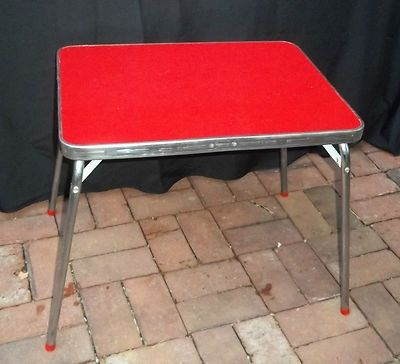 Vintage Retro Formica Childrenu0027s Kid Table In Red Cracked Ice And Chrome  Folds | EBay