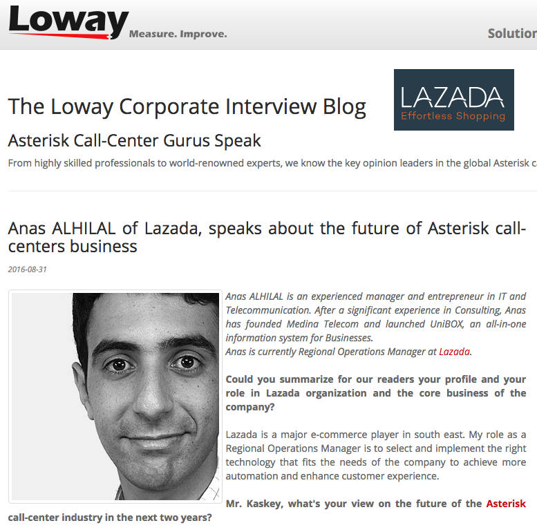 Anas ALHILAL of Lazada, speaks about present and future of Asterisk call-center…