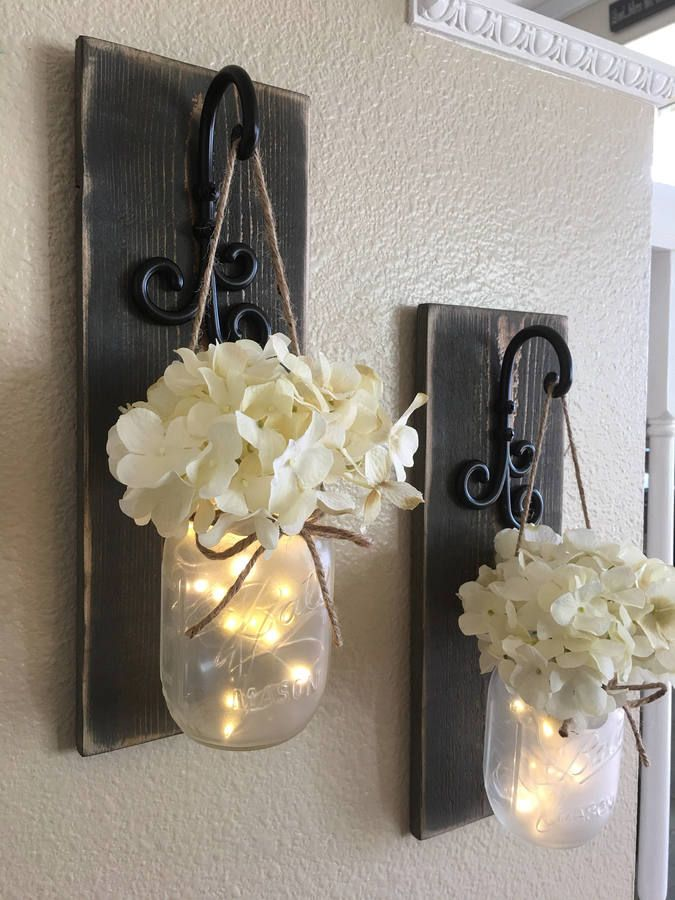 Etsy mason jar wall decorgray home decor coutnry chichanging sconcemason  also rh pinterest