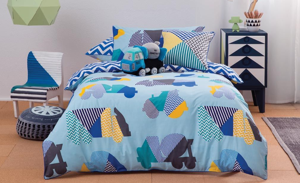 Hugo Quilt Cover Set. Traffic jam mania with geometric vehicles in ... : kids quilt cover - Adamdwight.com