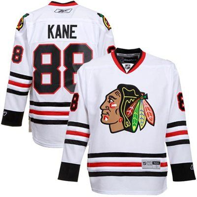 Mens Chicago Blackhawks  88 Patrick Kane Reebok White Premier Player Hockey  Jersey f14c7ea93