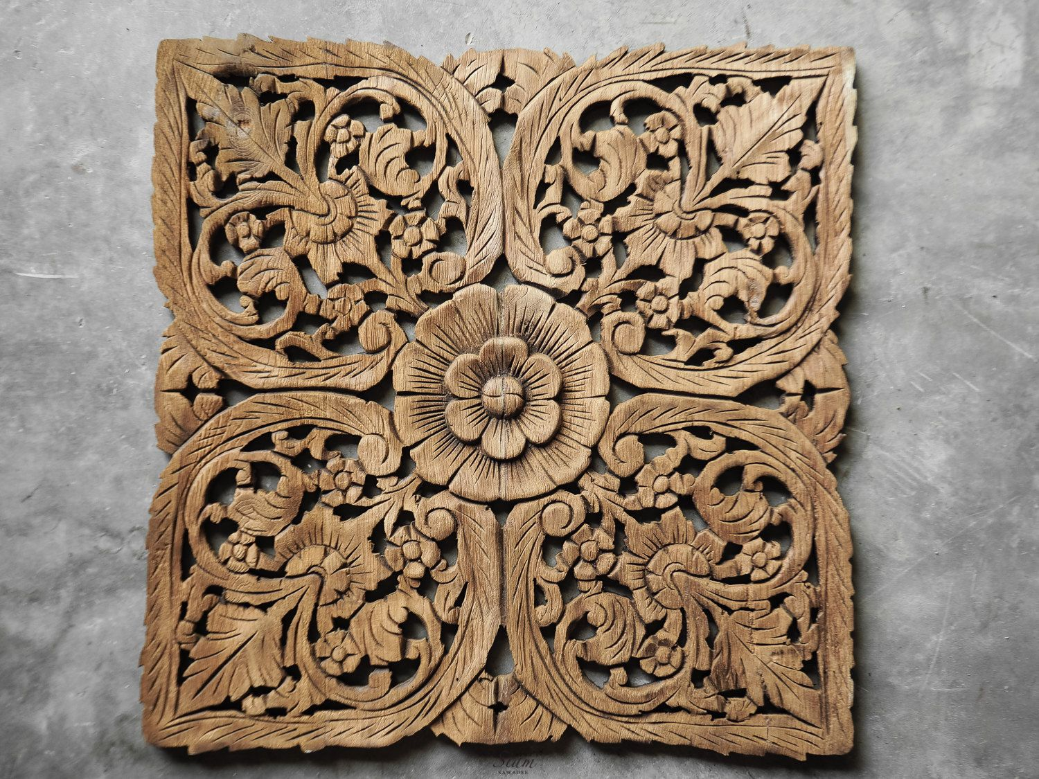 Lotus Wall Art Hanging Carved Panel Wood Carving Plaque
