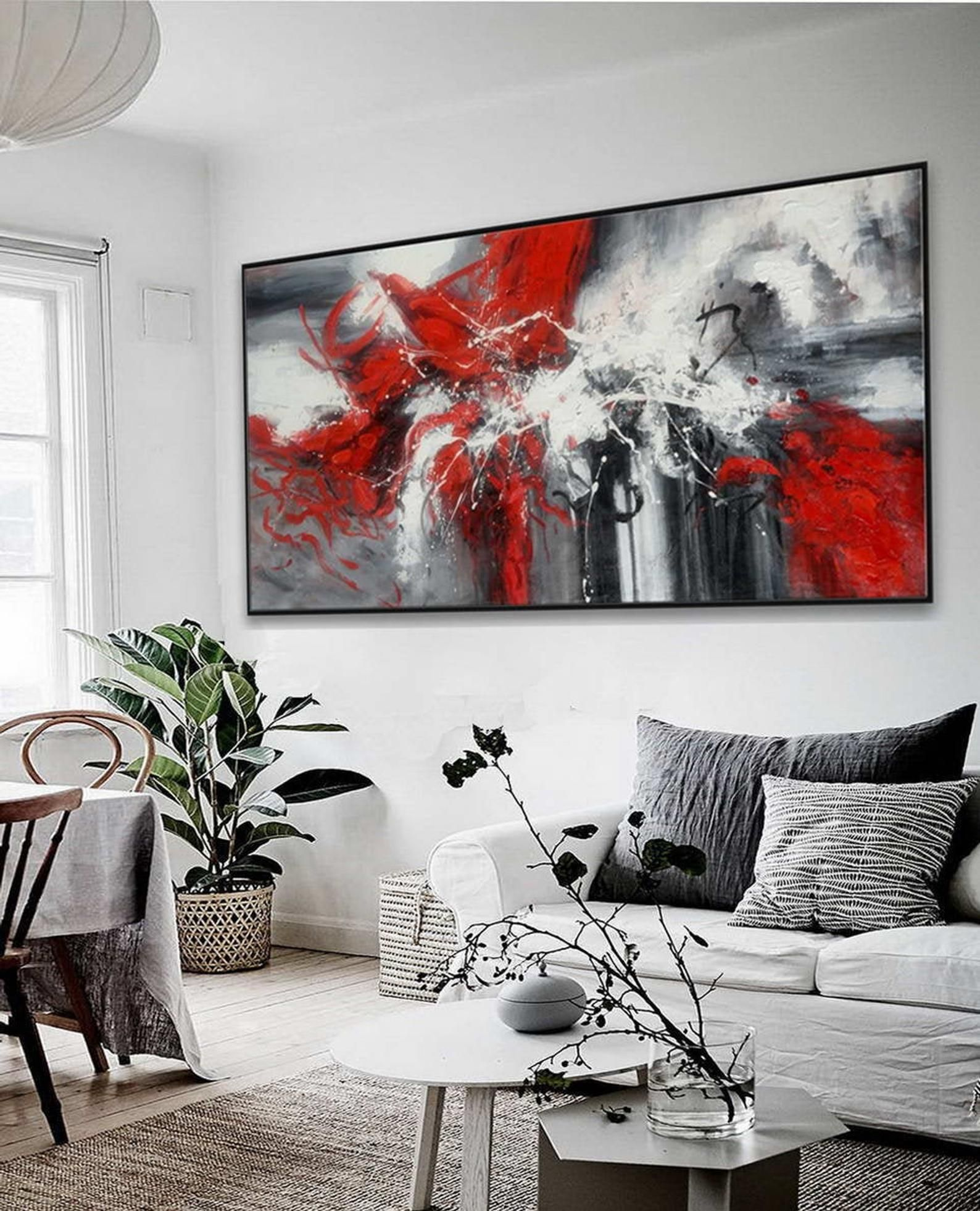 Large Colorful Panoramic Horizontal Abstract Framed Wall Art Etsy Etsy Wall Art Abstract Canvas Art Modern Abstract Wall Art
