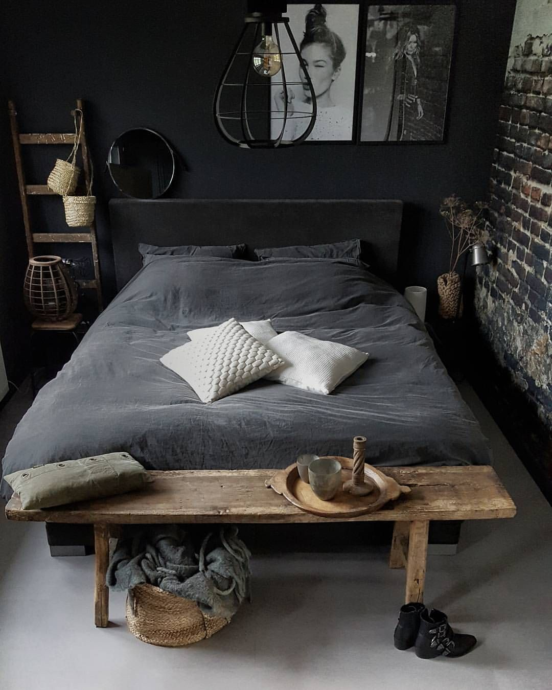 Industrial Bedroom Furniture Pin By Jeanne Le Roux On Grys Dekor In 2019 Pinterest