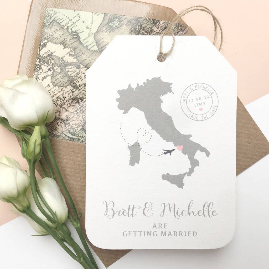 Location Wedding Abroad Save The Date Luggage Tag in 2020