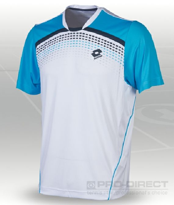 Lotto - Boys Graphic T-Shirt - Junior Tennis Clothing - White/Cyan