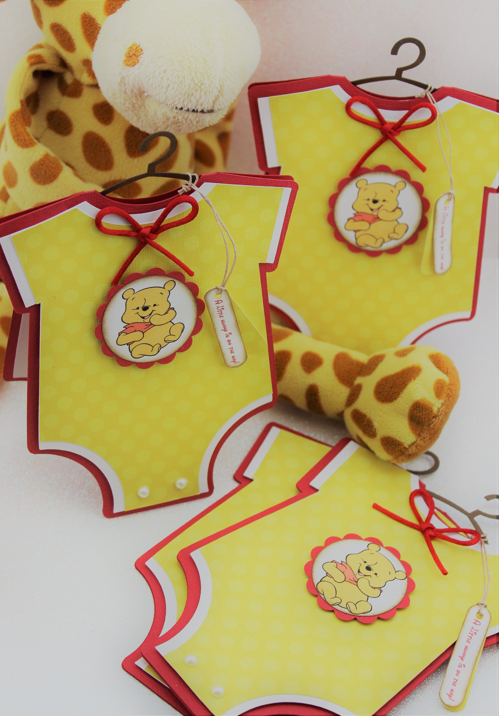 Winnie The Pooh Baby Shower Invitations Baby Onesie Cards Winnie