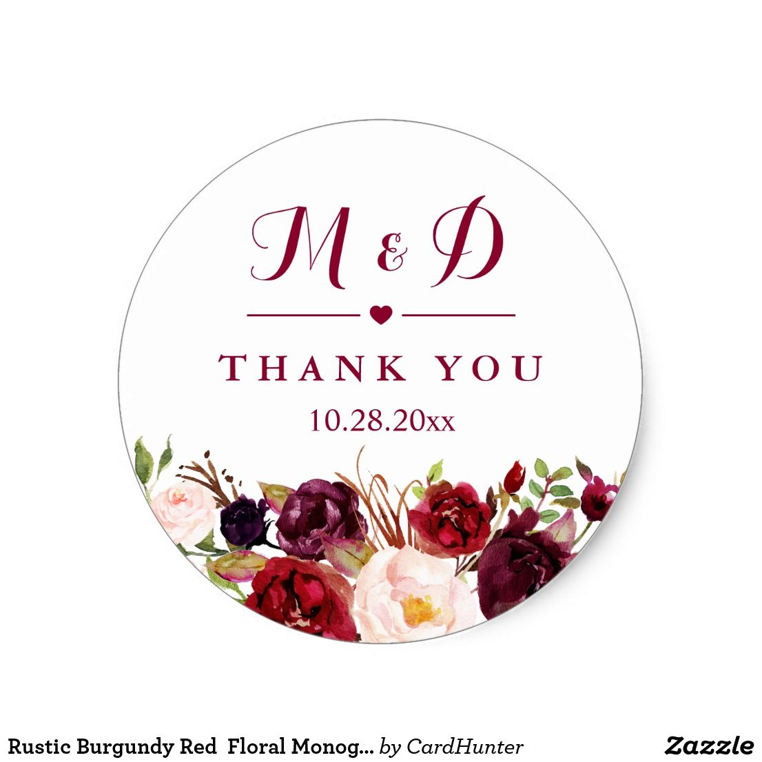 Rustic Burgundy Red Floral Monogram Wedding Favor Classic Round ...