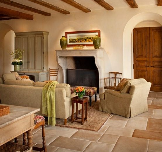 Room · Limestone Floor Tiles In Mediterranean Living Room Design ...