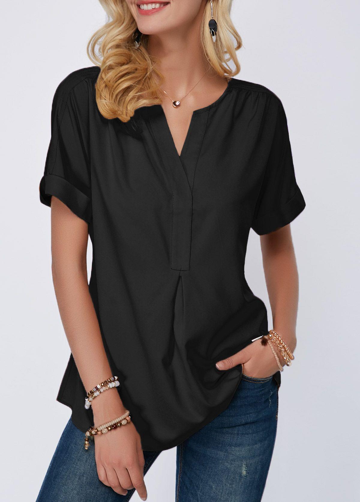 1d95e3a0aff Black Split Neck Short Sleeve Blouse