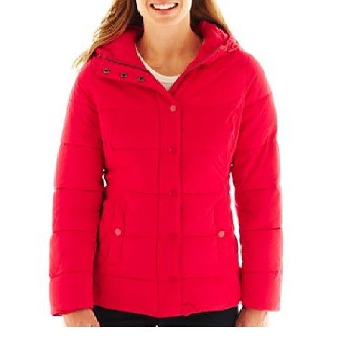 65d3485fb497 st john s bay puffer jacket red winter solid women s size M NEW 29.99 http
