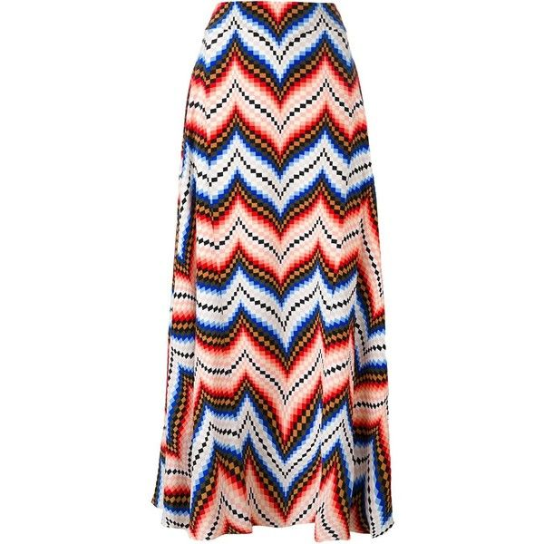 Kenzo chevron maxi skirt ($318) ❤ liked on Polyvore featuring skirts, saias, multicolor, colorful skirts, pleated skirt, long skirts, multicolor skirt and kenzo