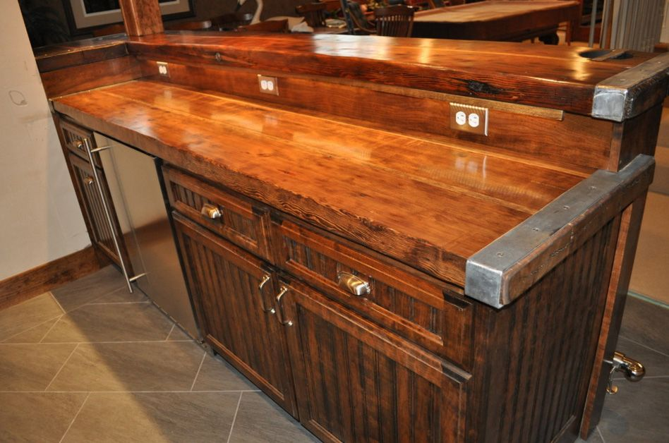 Nautical furniture, decor, accessories and antiques for beach house,  coastal design and seaside influenced interiors and exteriors. - This Liberty Ship Hatch Cover Built-in Bar Above Was Designed And