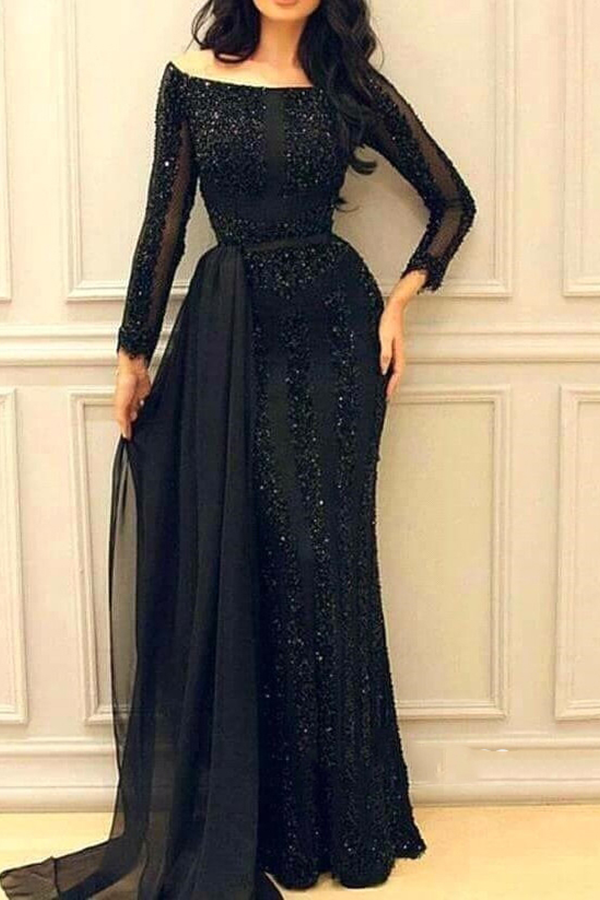Ericdress Long Sleeves Sequins Black Evening Dress