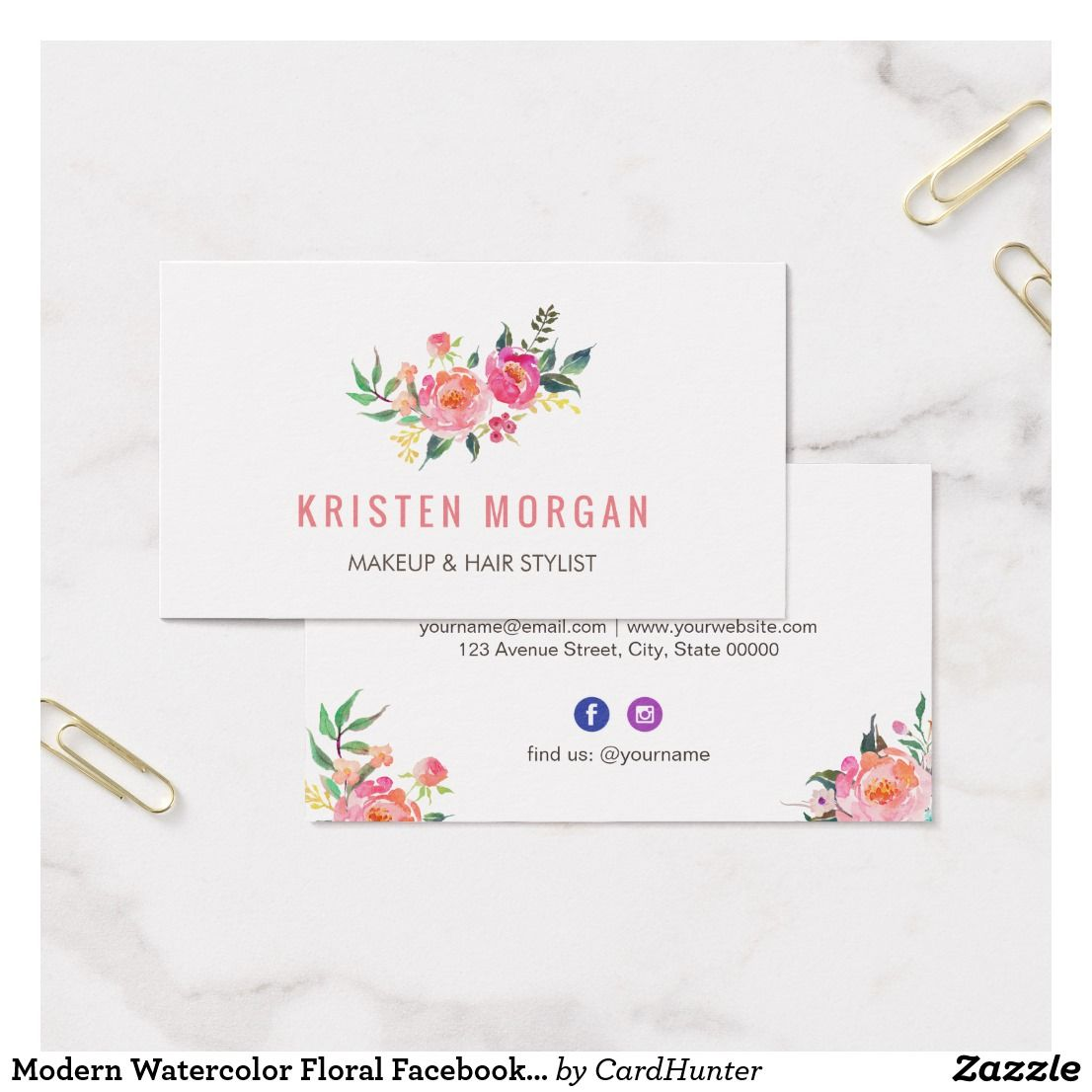 Modern watercolor floral facebook instagram icon business card modern watercolor floral facebook instagram icon business card reheart