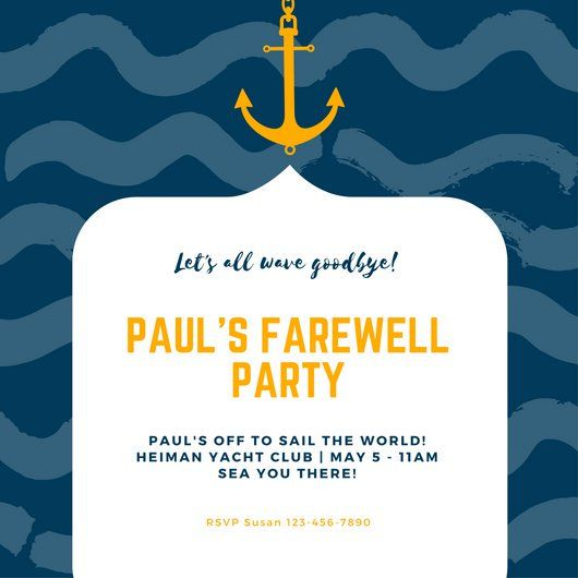 dark blue and orange wave nautical invitation graphic design