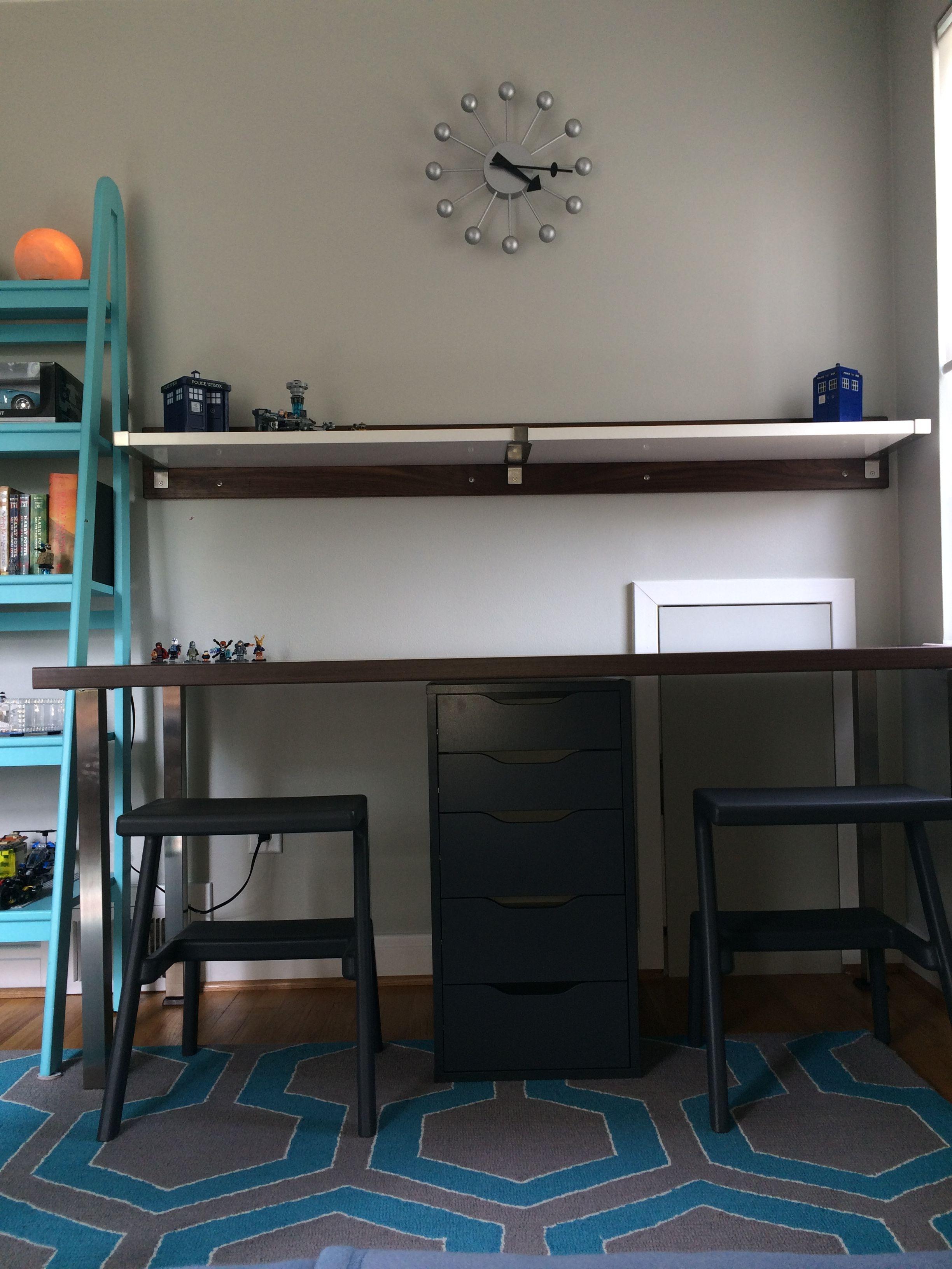 Ikea Hack: Double Desk Using Ikea SÄljan Walnuteffect Counter Top, Ikea  Sjunne