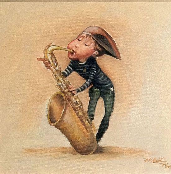 Ретро открытка саксофон