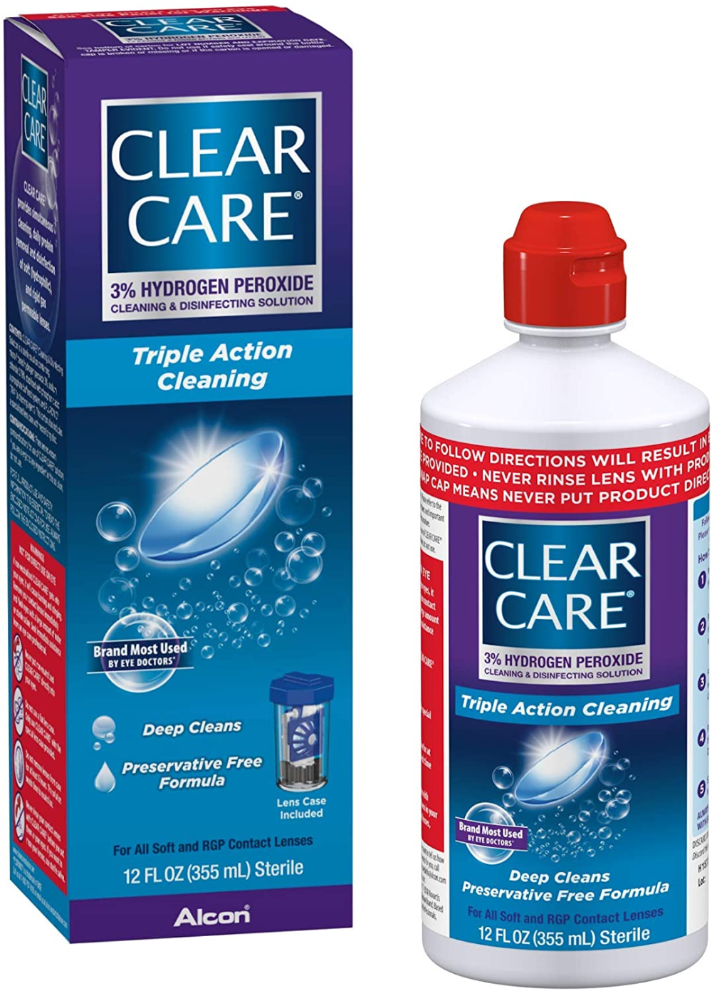 Amazon Com Clear Care Cleaning Disinfecting Solution With Lens Case 12 Ounces Health Personal Care In 2020 Cleaning Solutions Care