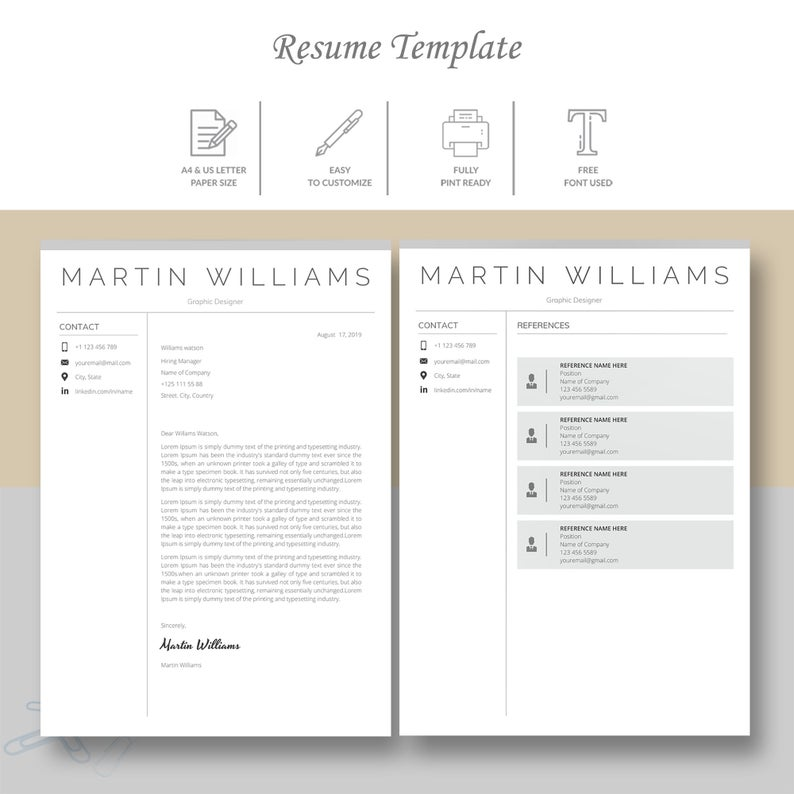 Google Docs Resume Template Instant Download, Professional