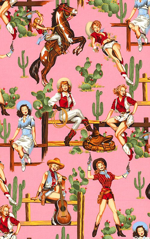 Alexander Henry Pinup Cowgirls Pink This Retro Large Scale Print From Alexander Henry Recalls The Movie Posters Of C Cowgirl Art Western Wall Art Cowboy Art