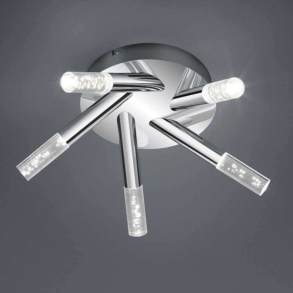 LED Deckenleuchte in Chrom mit 5 Lichtelementen mit Glas in ...