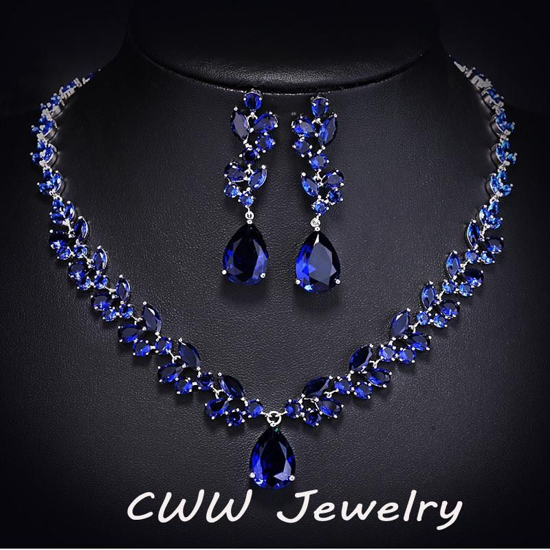 293ba17ef Luxury CZ Simulated Diamond Women Wedding Jewelry Royal Blue Sapphire  Bridal Necklace Earrings Sets For Brides T115