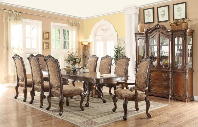 English Country Dining Furniture Double Pedestal Dining Set With
