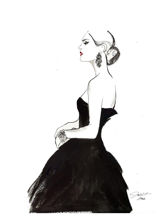 Original Watercolor And Pen Fashion Illustration Vintage Glamour Fashion Illustration Vintage Fashion Art Illustration Pen Fashion