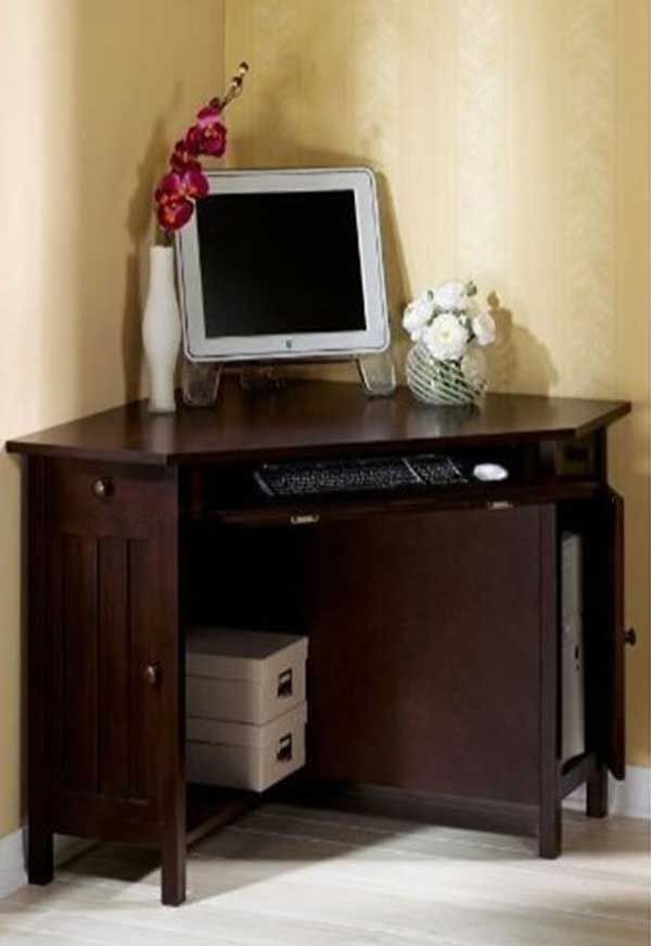 Superb Small Corner Oak Home Office Computer Table