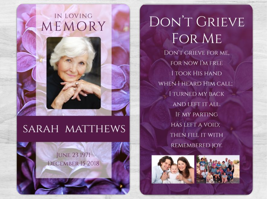 Funeral printing services custom funeral cards