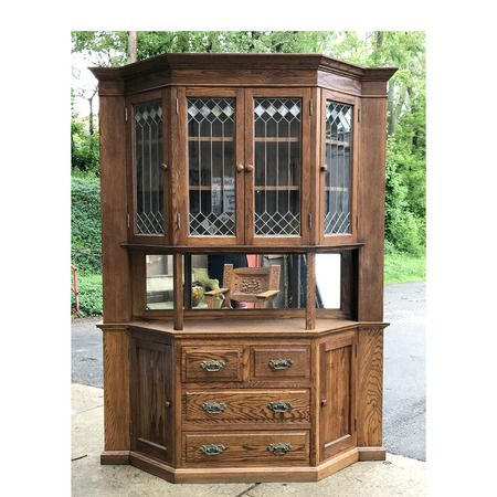 F17049 - Antique Revival Period Oak Sideboard China Cabinet - F17049 - Antique Revival Period Oak Sideboard China Cabinet China