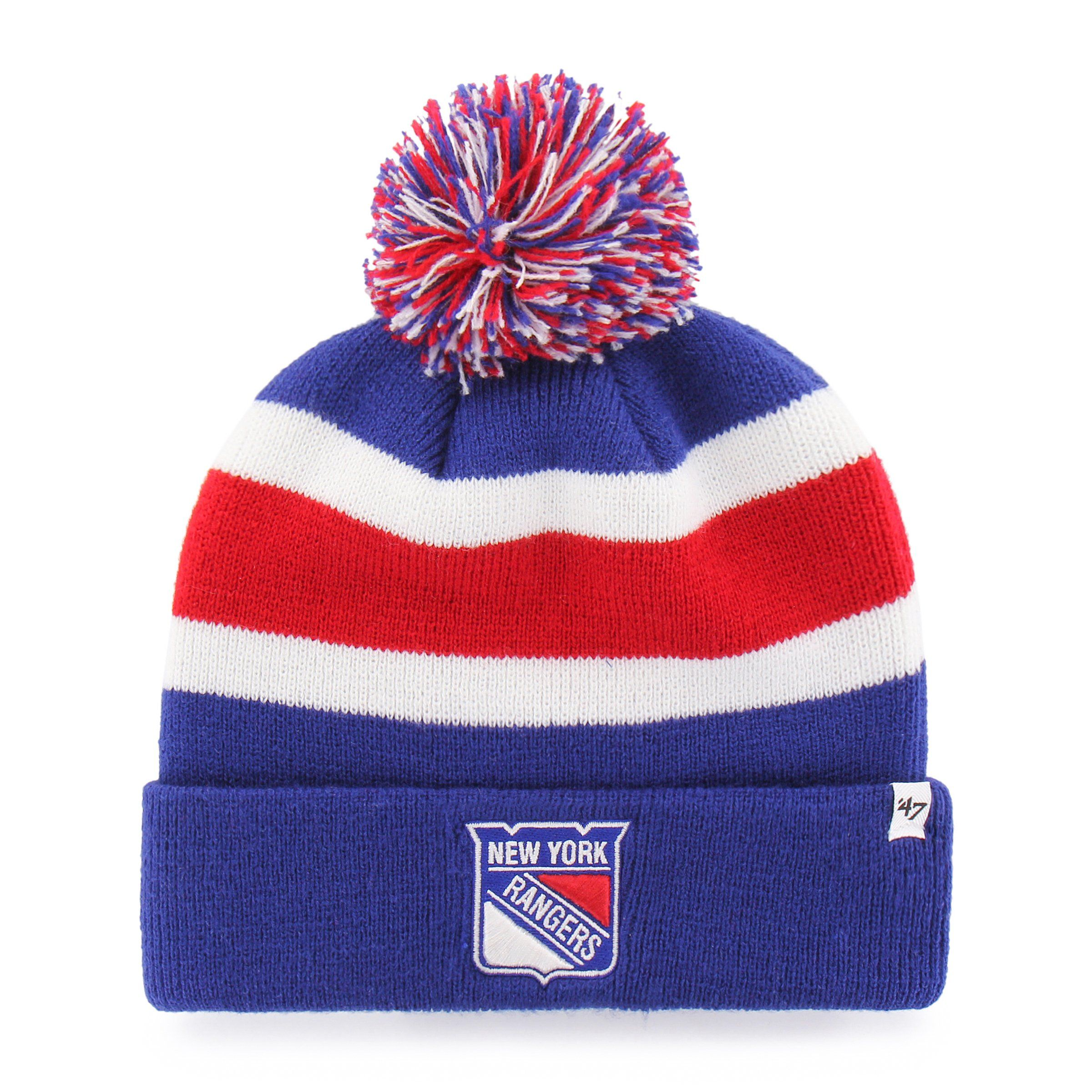 3caba278e New York Rangers 47 Brand Royal Blue Breakaway Cuff Poofball Beanie Hat Cap