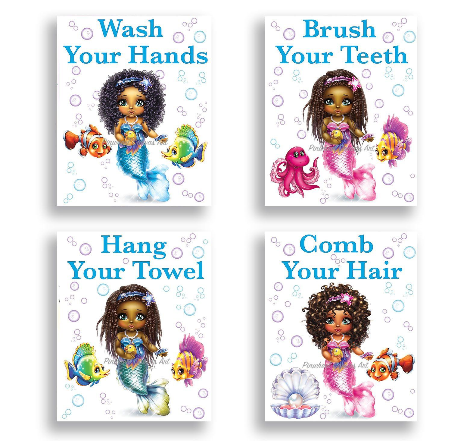 Mermaid Bathroom Wall Decor, African American Girl Wall Art, Girl Bathroom Sign Wash Brush, Mermaid Under the Sea Bathroom Decor Set of 4 #mermaidbathroomdecor
