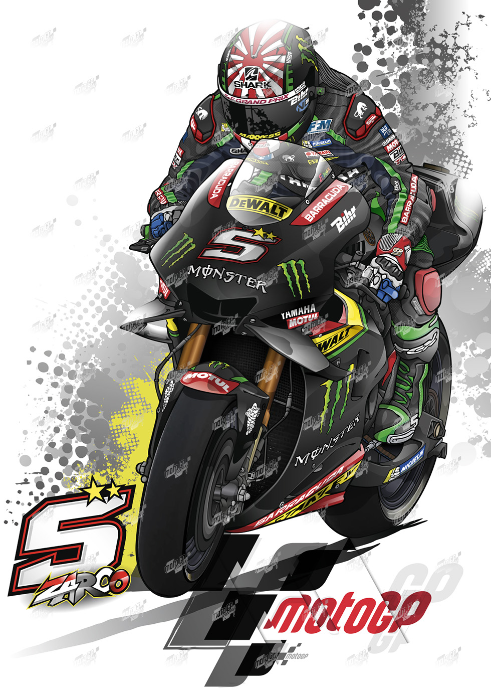 Tech3 Yamaha Full Colors 05 Johann Zarco Prints On Canvas In 2020 Yamaha Motogp Bike